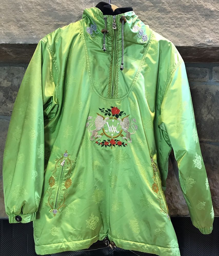 Bogner Women s Jacket Ski Snowboarding Green Asian Lion Roses Sz 10  Embroidered  026e66305