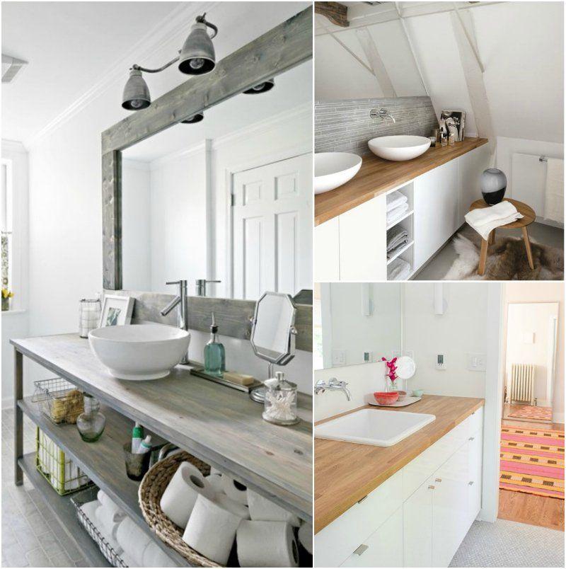 plan de travail salle de bain en bois massif avec meubles avec espaces de rangement - Plan De Travail Pour Meuble De Salle De Bain