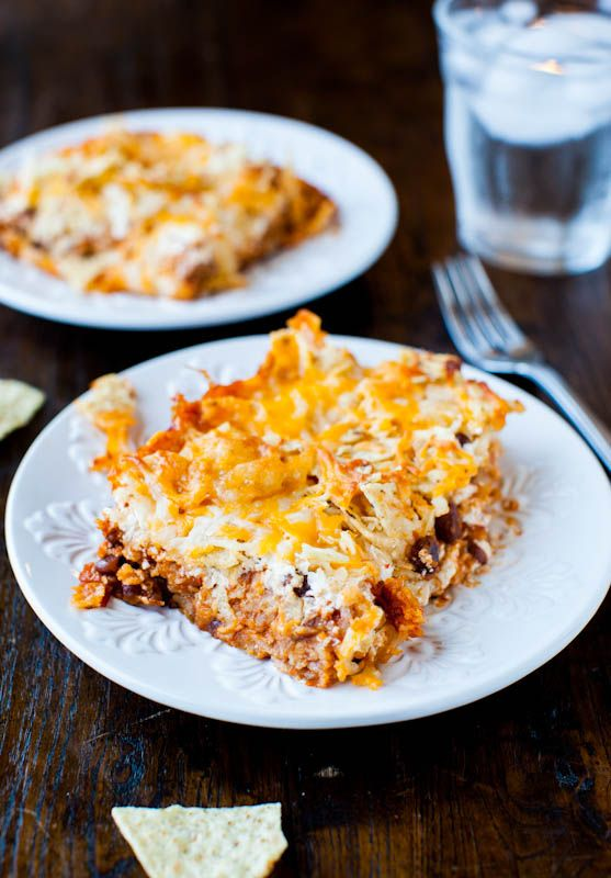 Chips and Cheese Chili Casserole. Like eating nachos for dinner - Melted cheese, chips, & chili. Makes planned leftovers. Vegan, GF