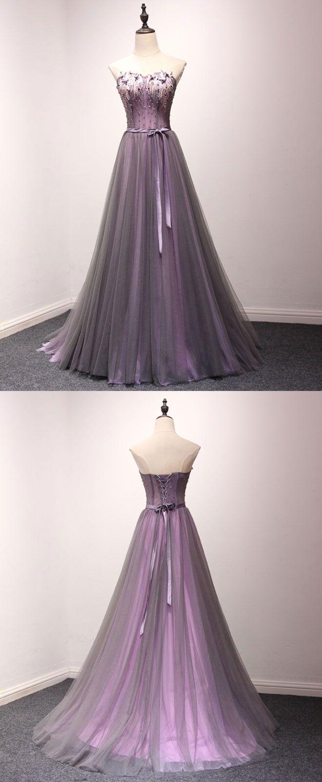 Pruple tulle sweetheart neck long prom dress evening dress long