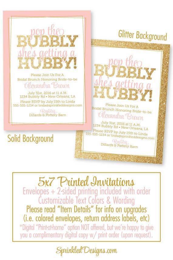 Bridal Shower Invitation - Pop the Bubbly Sheu0027s Getting A Hubby - bridal shower invitation samples