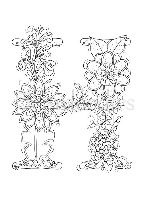 Welcome To Letter H By Fleurdoodles After Payment You Will Get 1 Digital Pdf File Without W Coloring Letters Valentine Coloring Pages Alphabet Coloring Pages