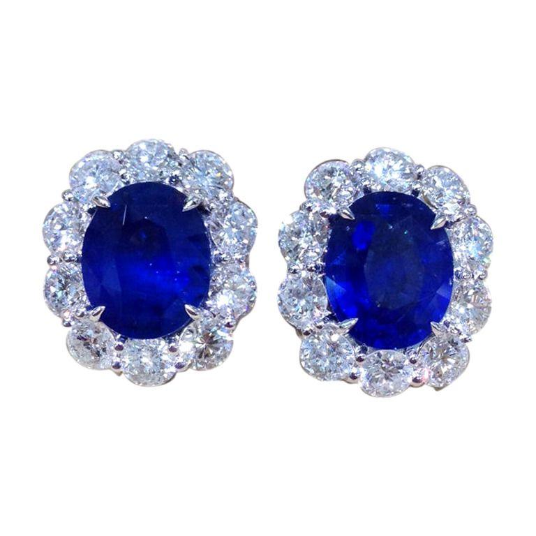 Sapphire earrings:  13.49 carats of beautiful Ceylon sapphires set in a custom made 7.80 carat diamond mounting. 18k white gold.
