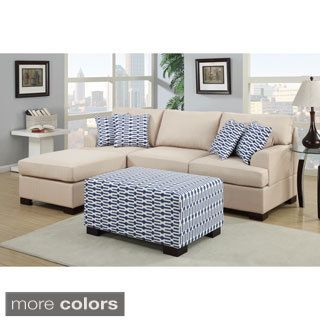 Moss 2 Piece Blended Linen Sectional Sofa With Matching Ottoman