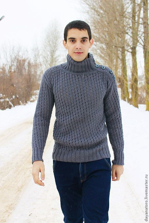 """Buy Men's knitted sweater """"Grey wolf"""" - sweater, sweatshirt, sweater knitting, sweater knitted"""
