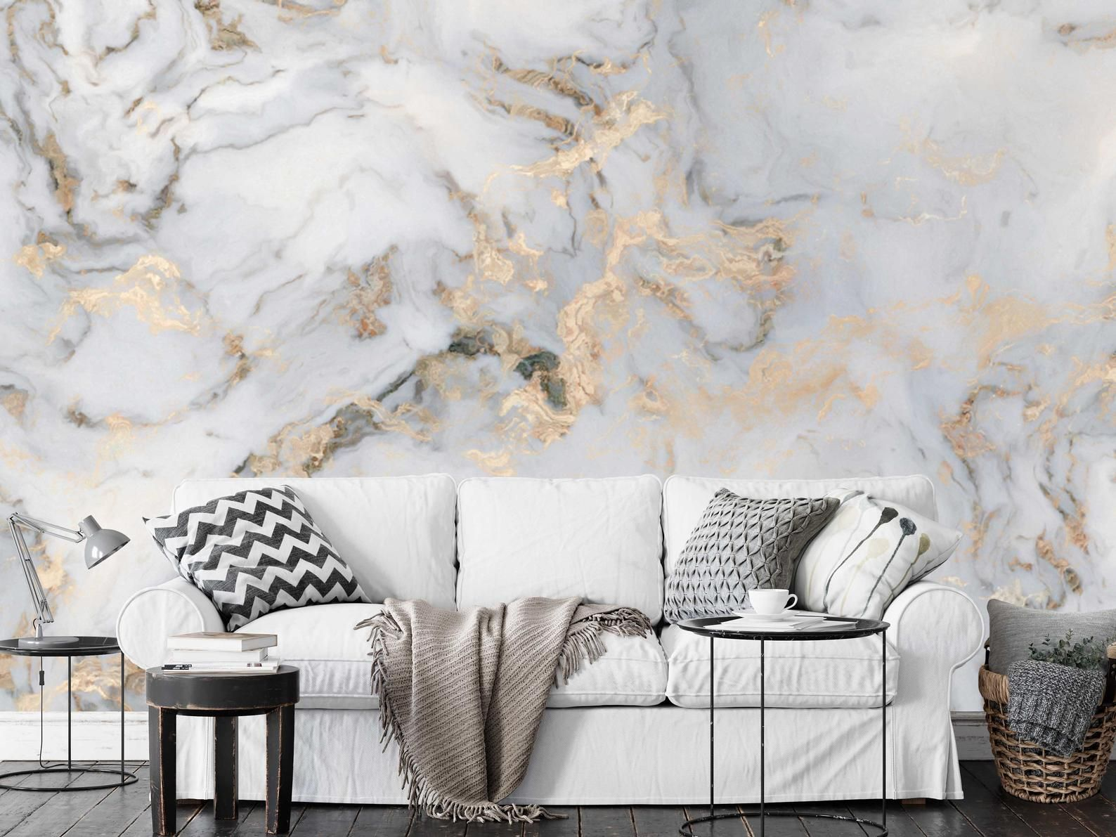 White Marble Pattern Gold Look Abstract Wallpaper Self Etsy Wallpaper Walls Decor Gold Abstract Wallpaper Marble Wall Mural