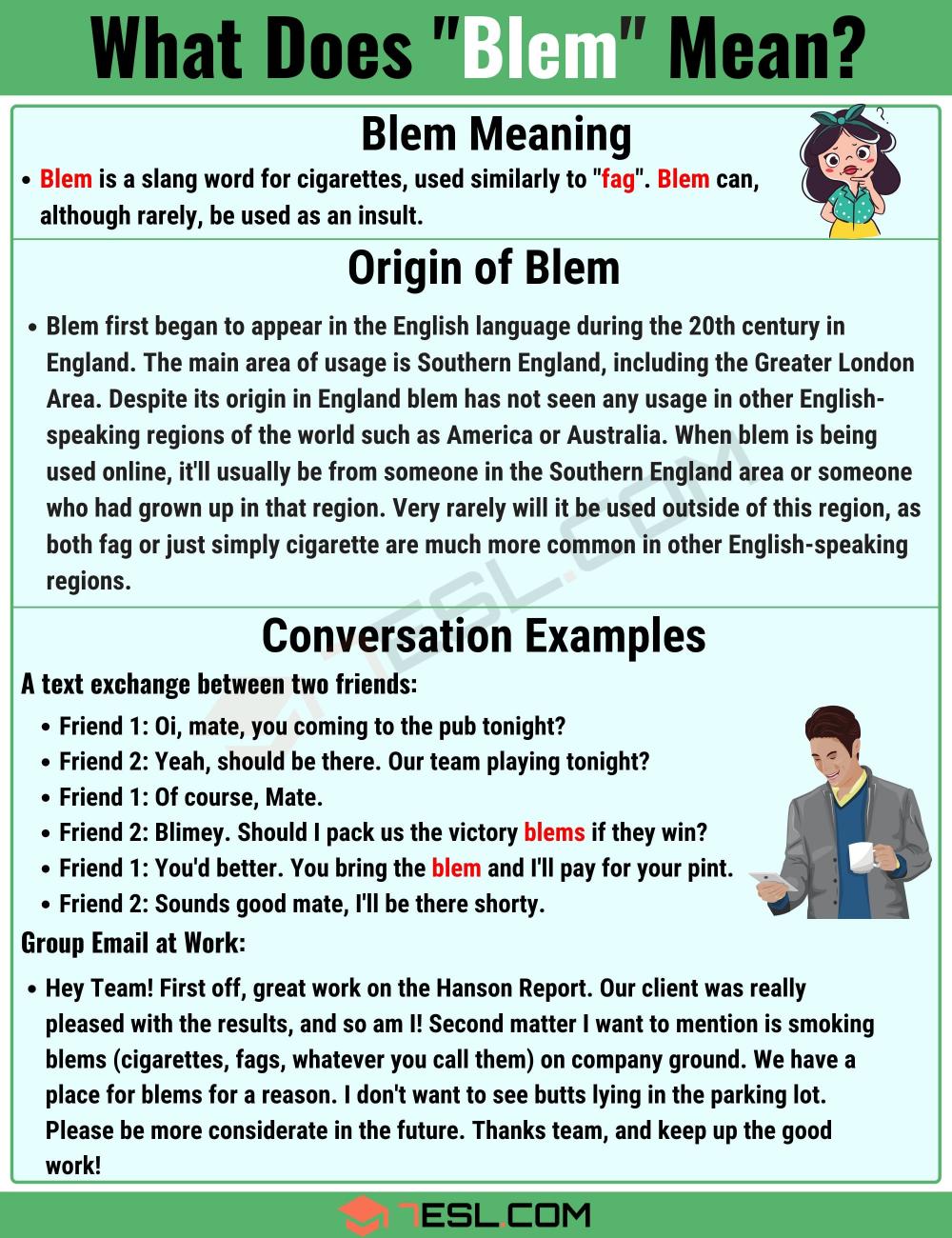Blem Meaning What Does The Term Blem Mean In Texting And Online Slang 7esl Slang Words British Slang Words Sms Language