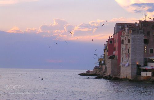 Rovinj sunset by hagnes11  sky city sea sunset nature beach travel clouds coast europe ocean vacation old architecture cityscap