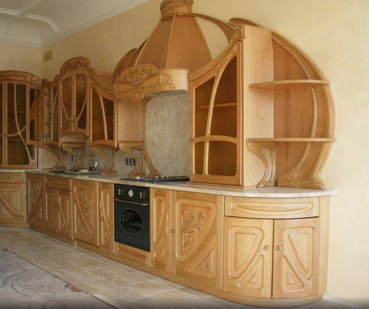 Cuisine Moderne Amenagee Dans Un Style Art Nouveau Lit Bois Mobilier De Salon Decoration Interieure