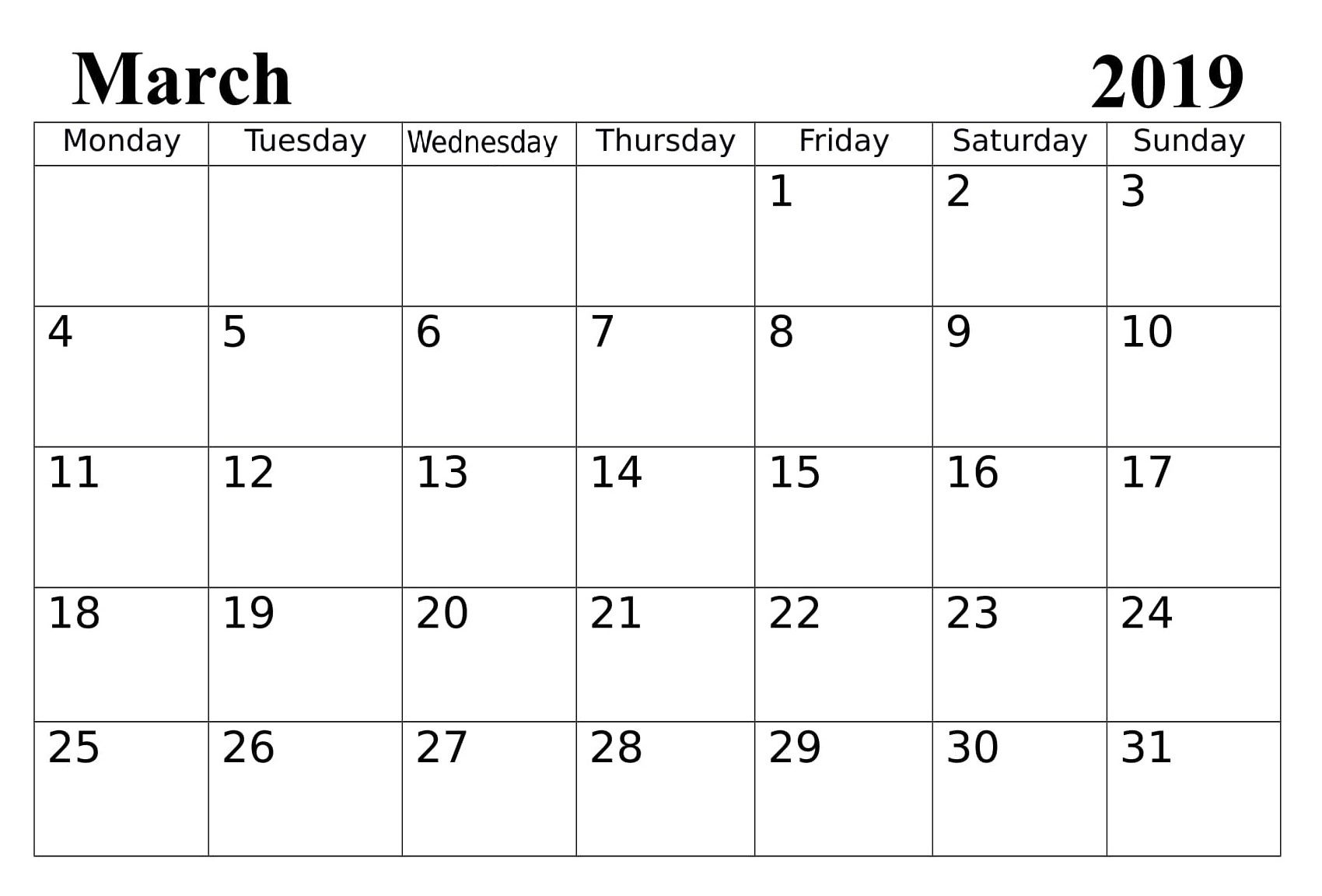 Calendar March 2019 Calendar With Holidays And Events 2019