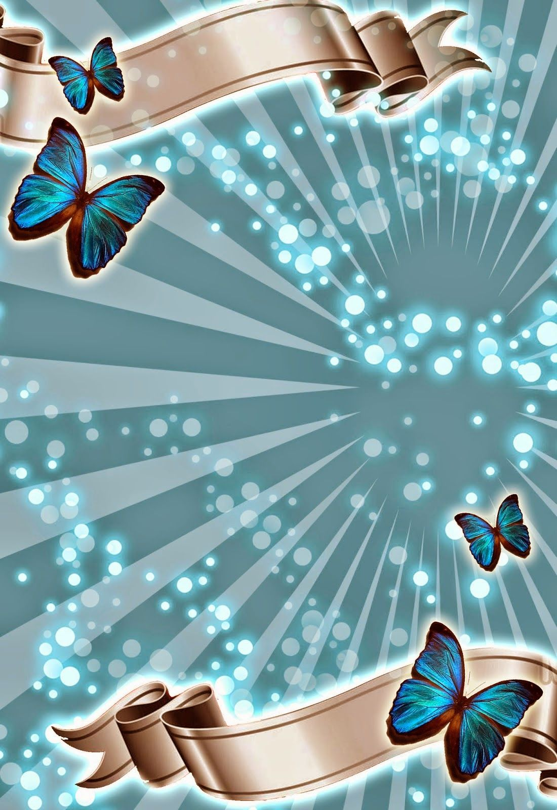 Turquoise Invitation template with butterflies #invitations #free ...