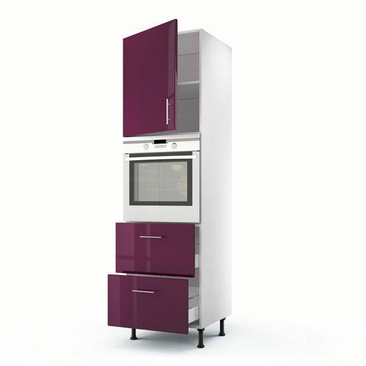 Colonne Violet 1 Porte 2 Tiroirs Rio H200xl60xp56 Cm Meuble Cuisine Meuble Rangement Cuisine Meuble Bas Cuisine