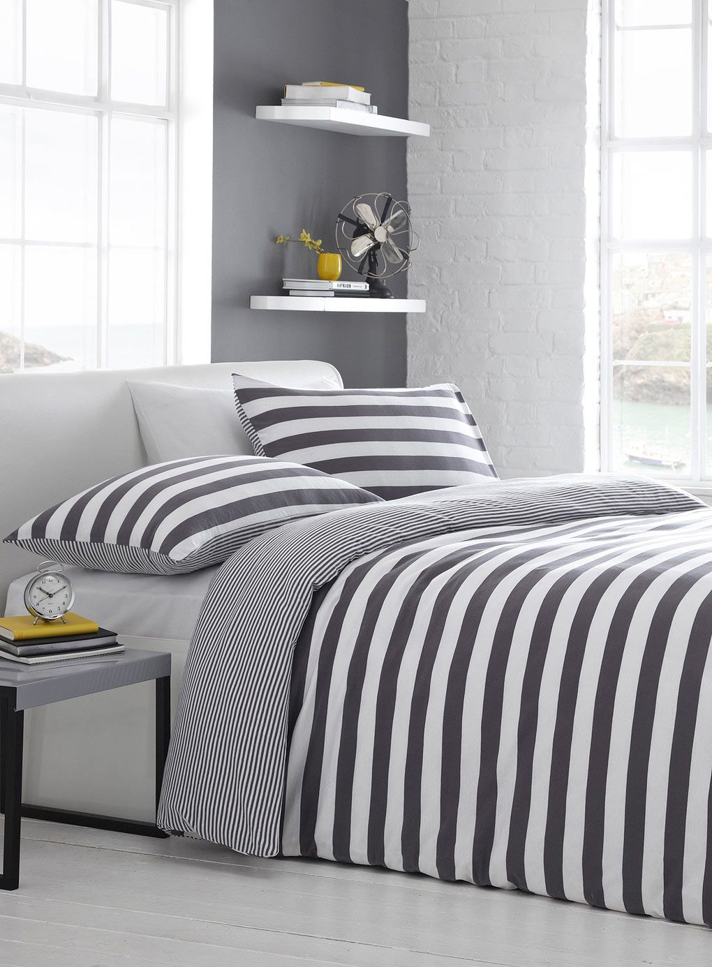 sets comforter and yet wall with designs covers combined white bedding striped simple grey exposed pillow stunning brick
