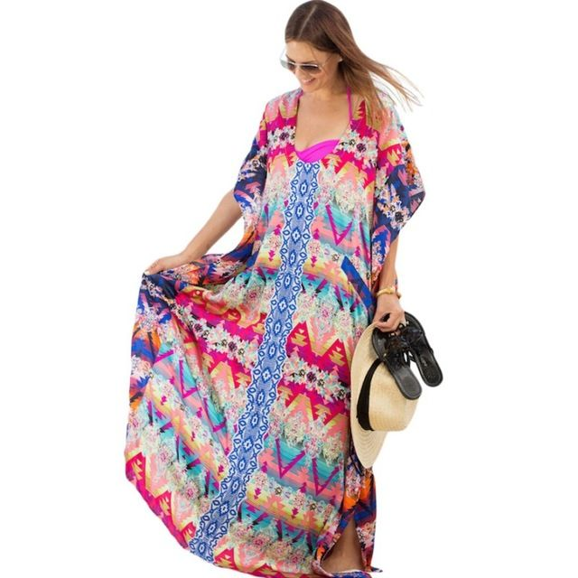 Women Beachwear Dress Summer Sun Proof Long Sleeve Long Maxi Dress Clothes