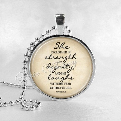 She Is Clothed With Strength And Dignity Bracelet: BIBLE SCRIPTURE QUOTE Necklace, Proverbs 31:25, She Is