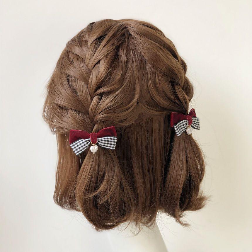 Twin Bear Plaid Bow Hair Clip Yesstyle Kawaii Hairstyles Short Hair Styles Hairstyle