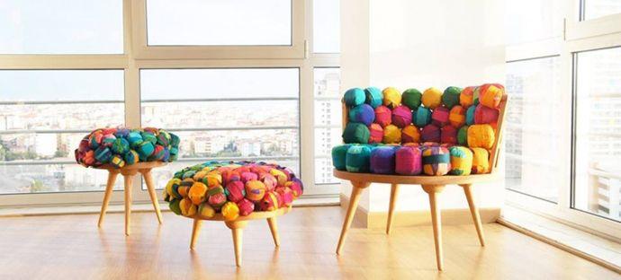 Recycled Silk Chair, Ottoman & Stool by Meb Rure | Tela y Arte