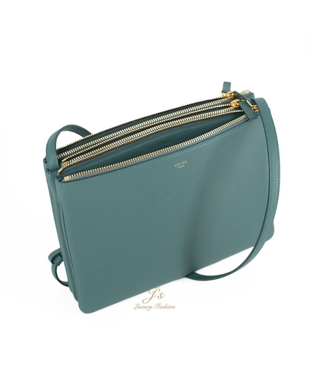 Celine Trio Crossbody Handbag Green Smoke  b60c2b97130c8