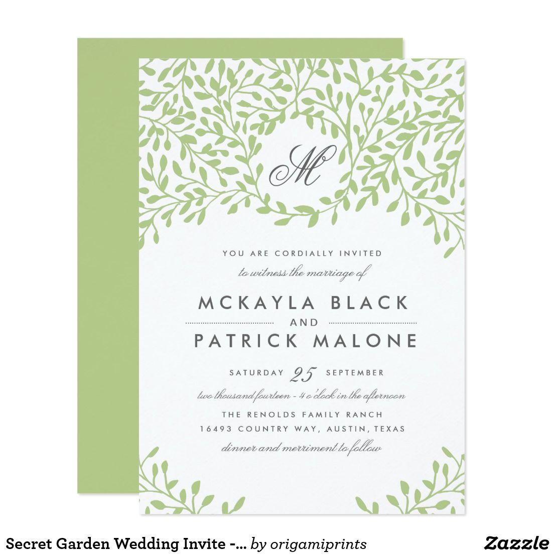 Secret Garden Wedding Invite - Green   Wedding designs, Floral ...