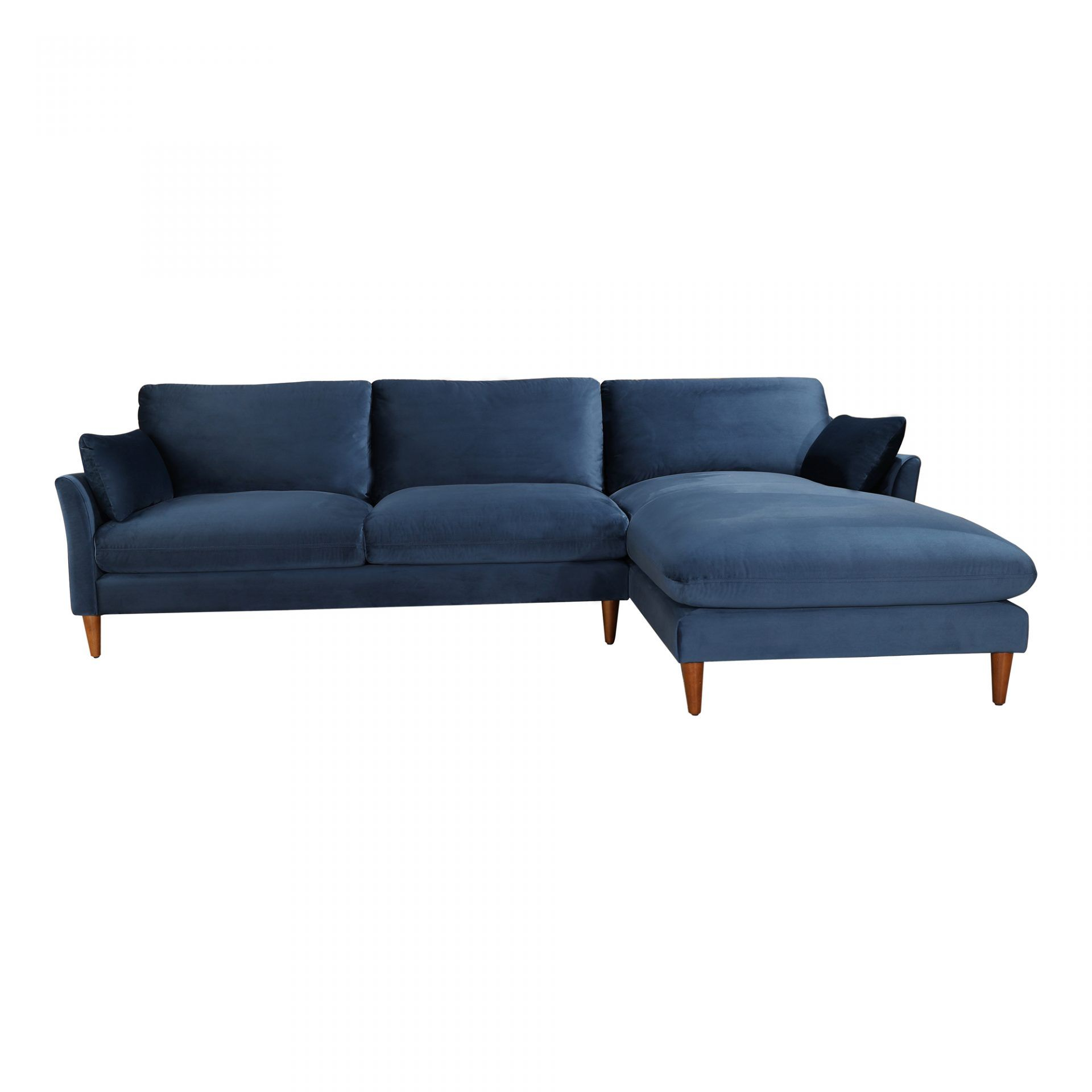 Suma Sectional Right Blue Velvet Products Moe S Canada Modern Leather Sectional Sofas Moe S Home Collection 2 Piece Sectional Sofa