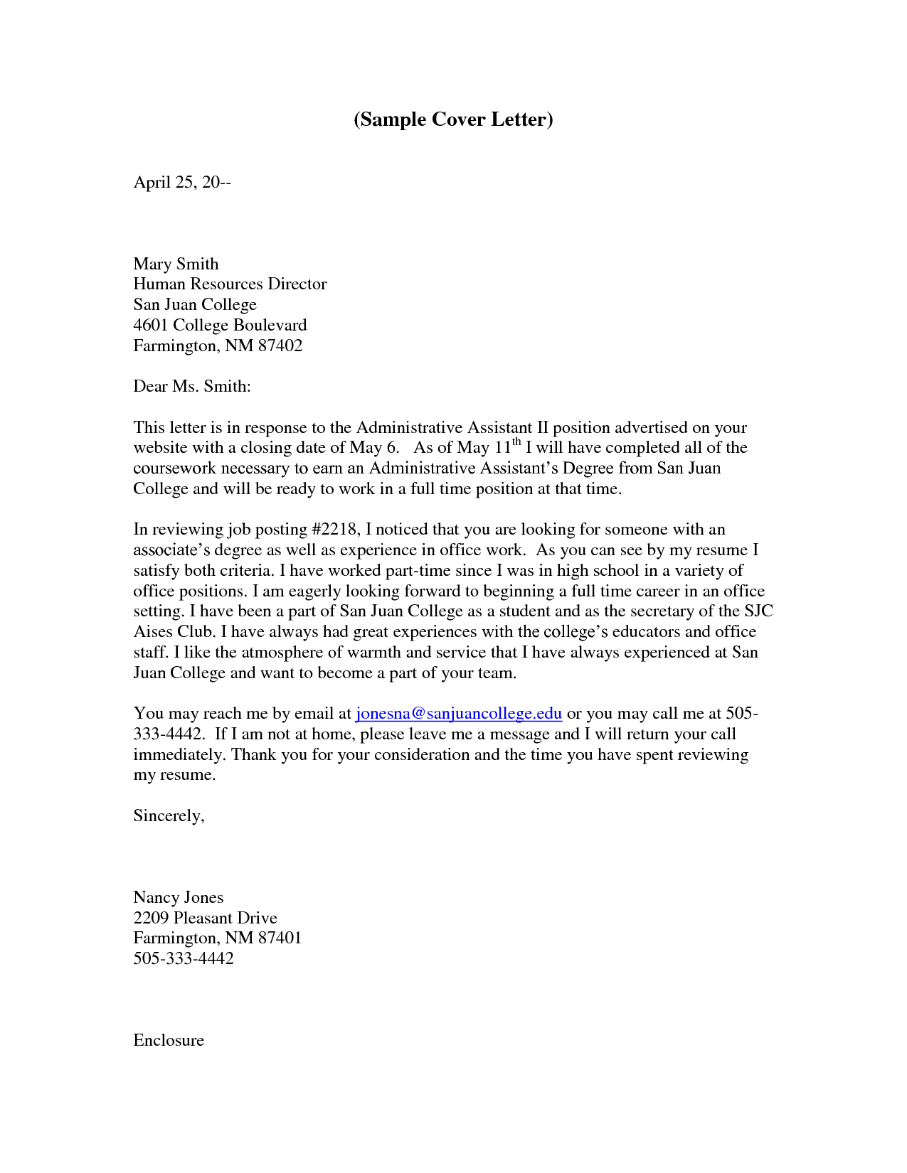 Resume Cover Letter For Administrative Assistant Position ...