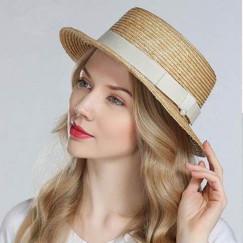 Pearl straw boater hat for women fashion summer travel flat brim sun hats   HatsForWomenBoater 1722edf5627e