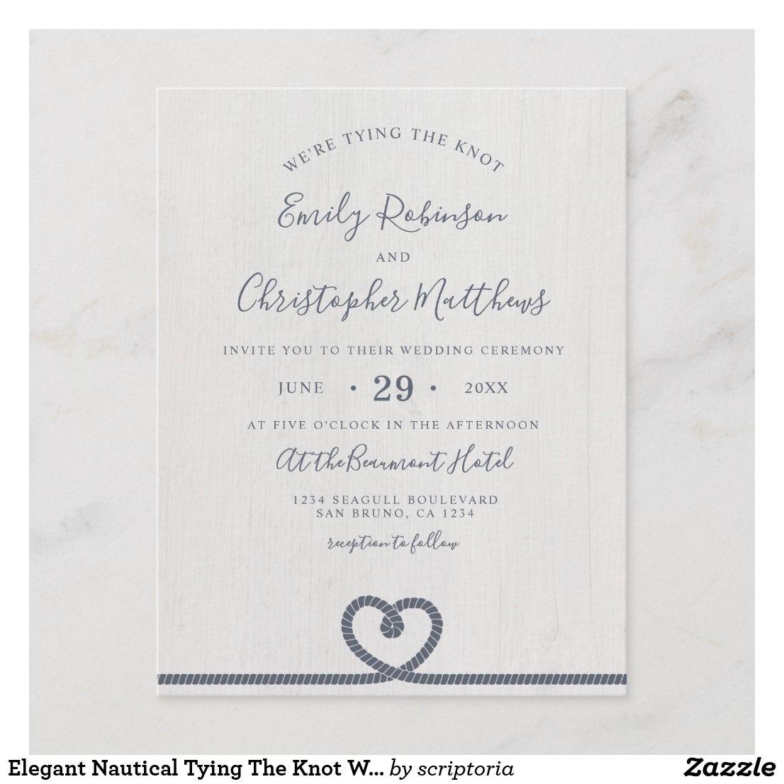 Elegant Nautical Wedding Invitations: Elegant Nautical Tying The Knot Wedding Invitation