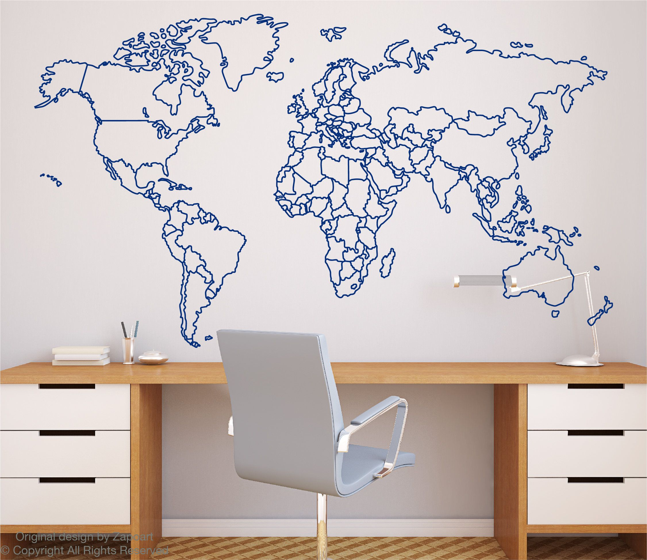 World map with countries borders outline wall decal by zapoart on world map with countries borders outline wall decal by zapoart on etsy gumiabroncs Images