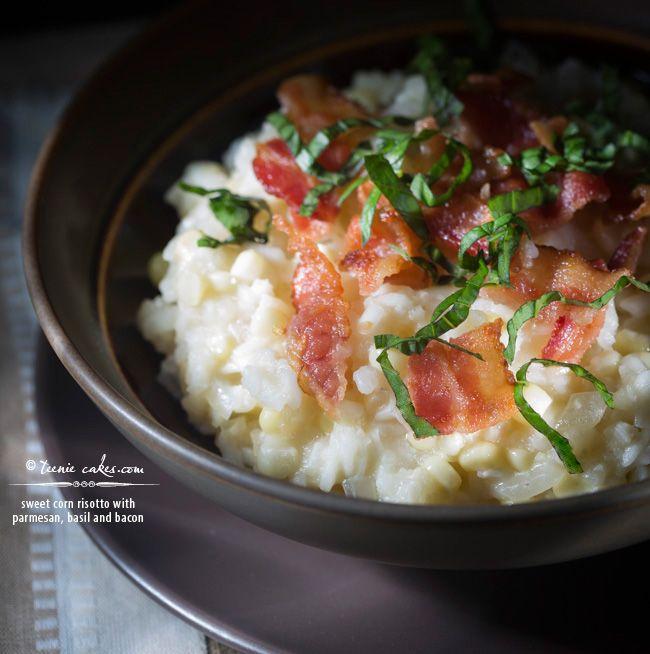 Sweet corn risotto with parmesan, basil and bacon recipe  | TeenieCakes.com