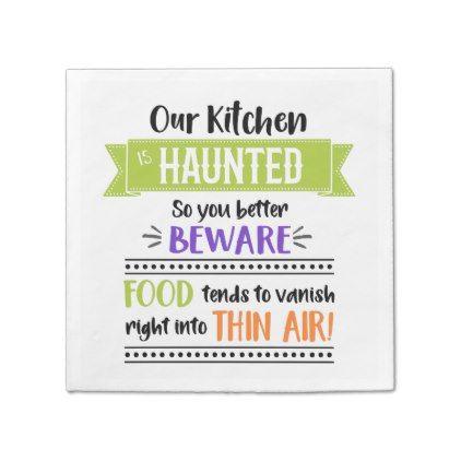 Funny Halloween Party Haunted Kitchen Napkin - #halloween #party