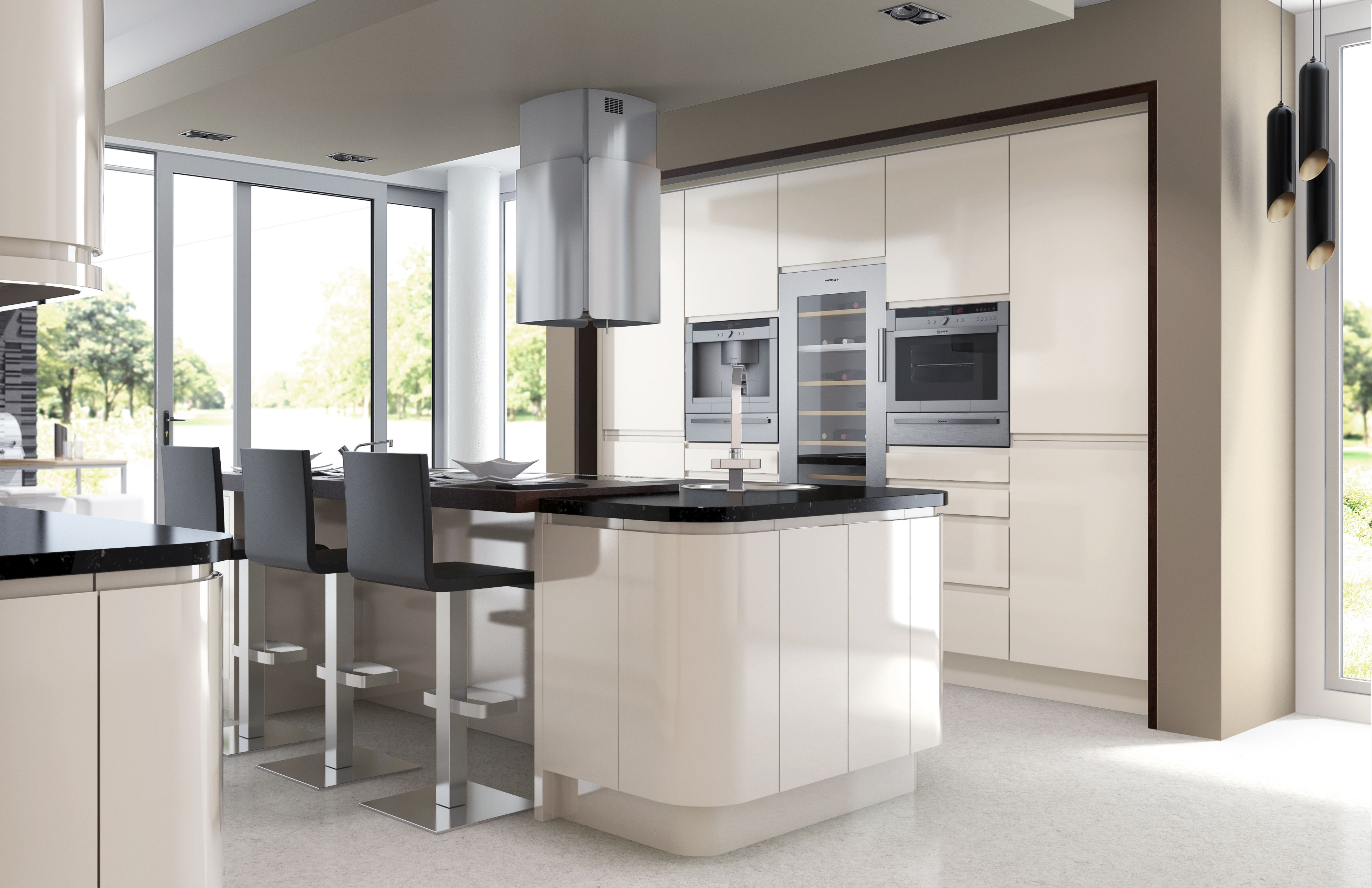 White Glossy Modern Kitchen For Minimalist Kitchen
