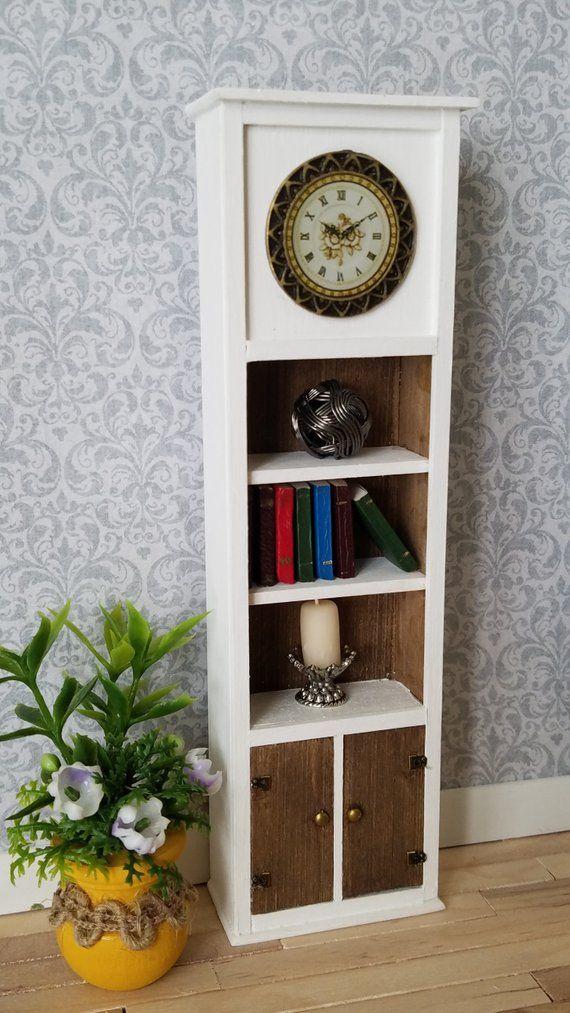 Miniature Clock Tower, Miniature Grandfather Clock, Clock Bookcase, Storage  Unit, Tall Clock