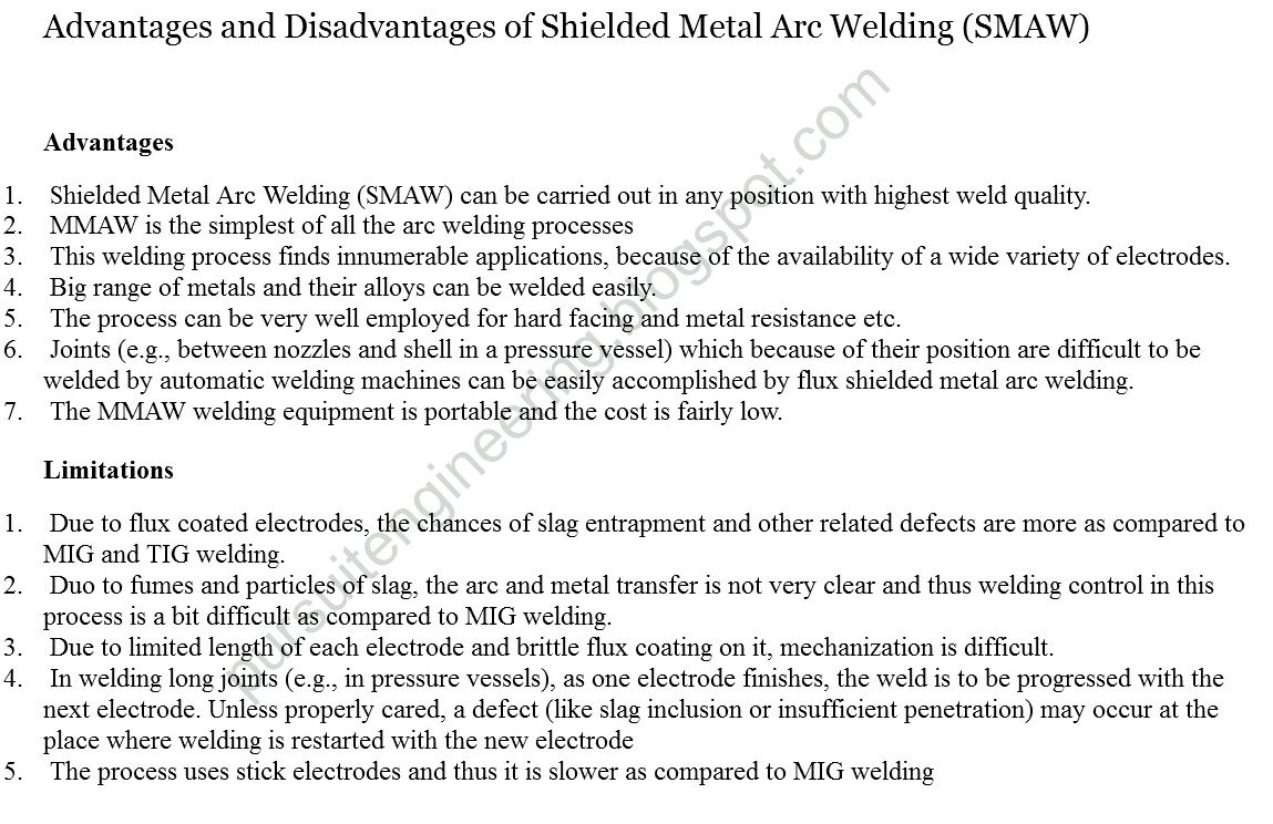 Advantages And Disadvantages Of Shielded Metal Arc Welding Smaw Shielded Metal Arc Welding Arc Welding Welding
