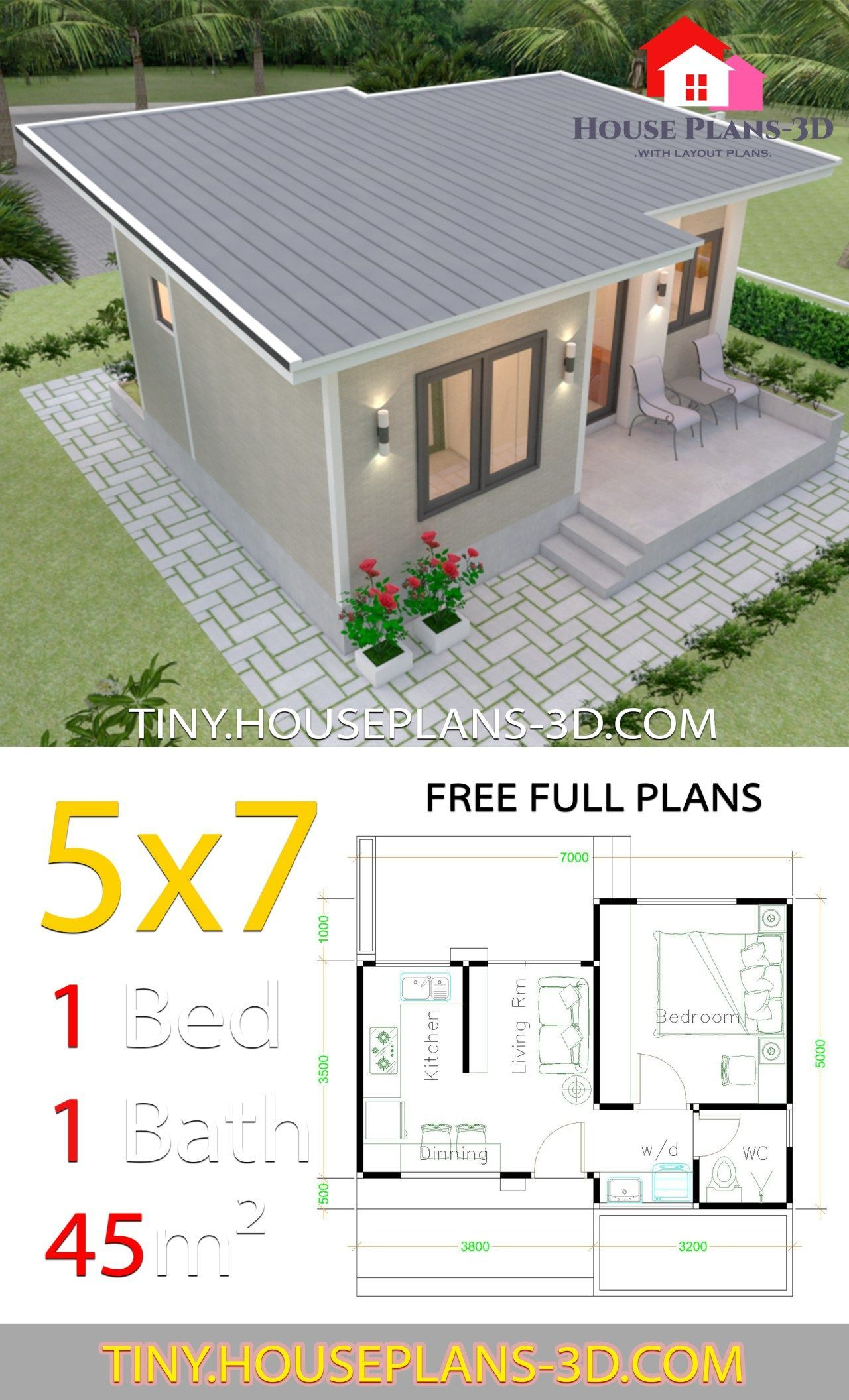 Small House Design Plans 5x7 With One Bedroom Shed Roof In Small House Design Plans Small House Design Philippines Affordable House Plans