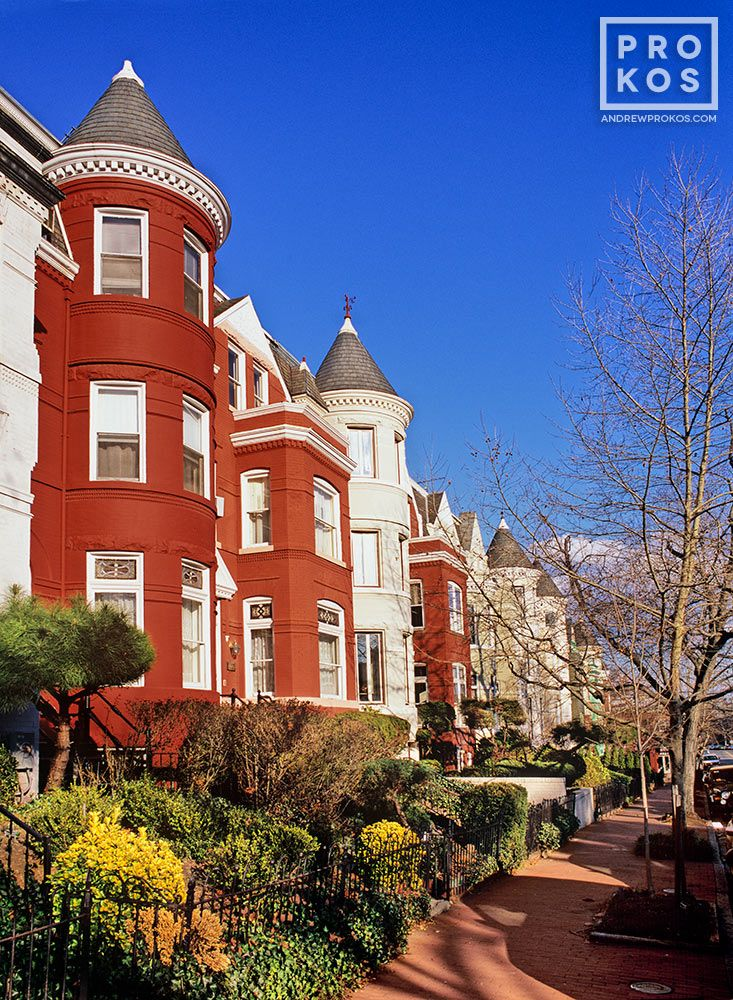 An architectural photo of the historic row houses along p