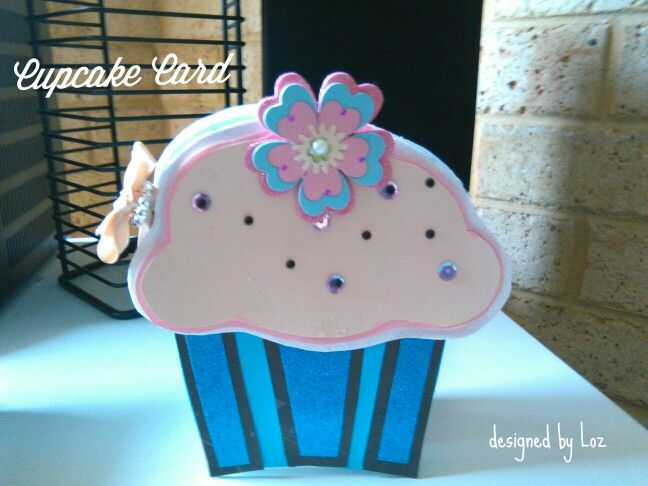 Cupcake card design- blue, black, cream and pink.