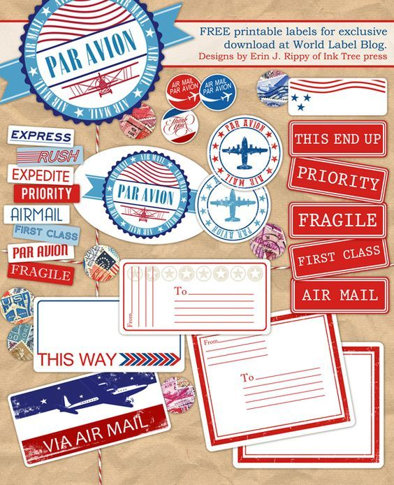 Free Printable Air Mail label kit -- send a letter or a parcel - free mailing label