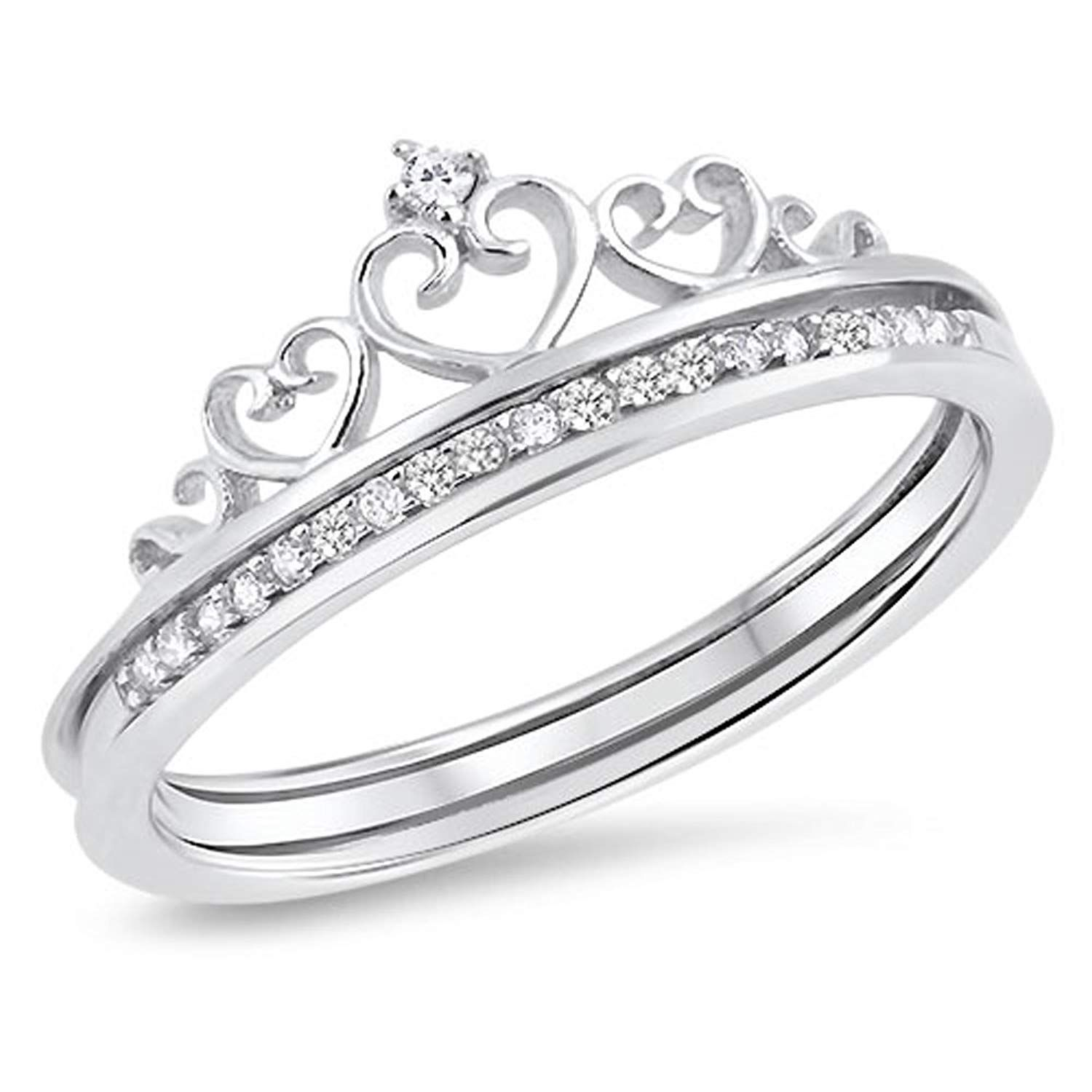 Heart Crown Clear CZ Promise Ring Set New .925 Sterling