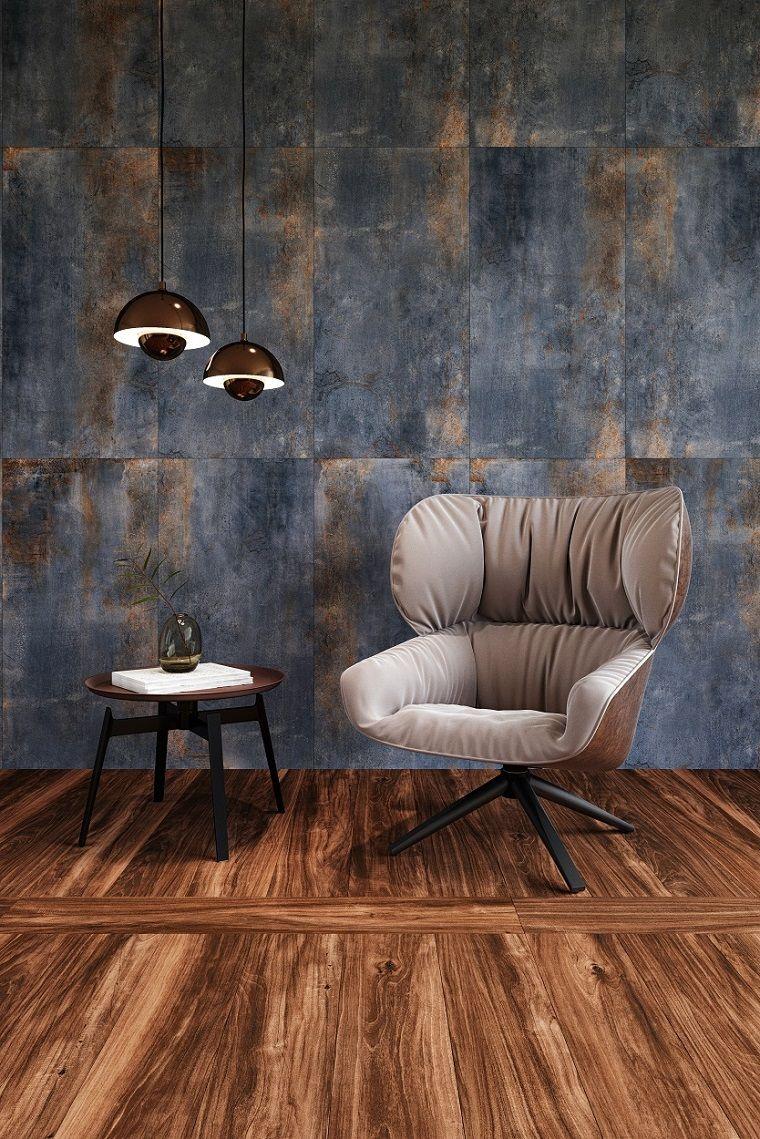 Mobili soggiorno moderni, tavolino basso di legno e poltrona ...