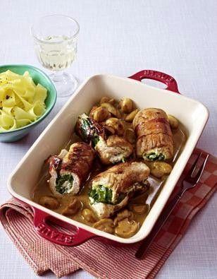 Puten-Rouladen mit Spinat-Frischkäse-Füllung Rezept | Pinterest ...