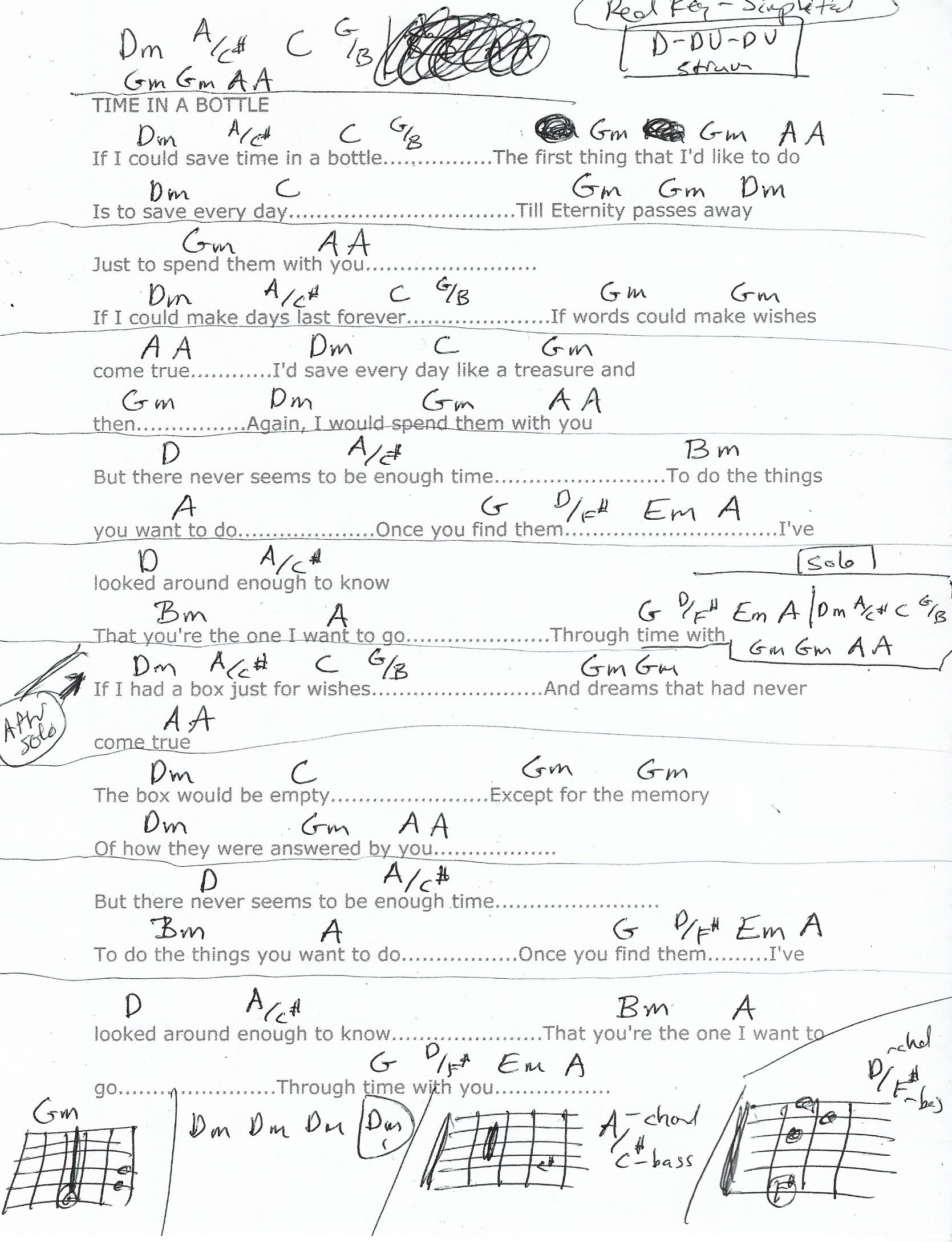 Time In A Bottle Jim Croce Guitar Chord Chart Dm Real Key