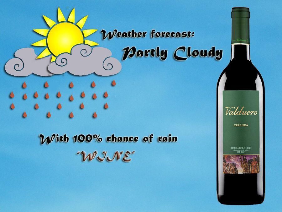 Weather Forecast Partly Cloudy With 100 Chance Of Rain Wine
