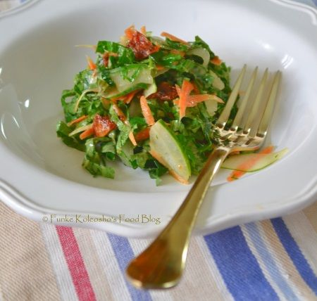 Funke Koleosho's Food Blog: Ugwu (Pumpkin leaves) & Kilishi Salad