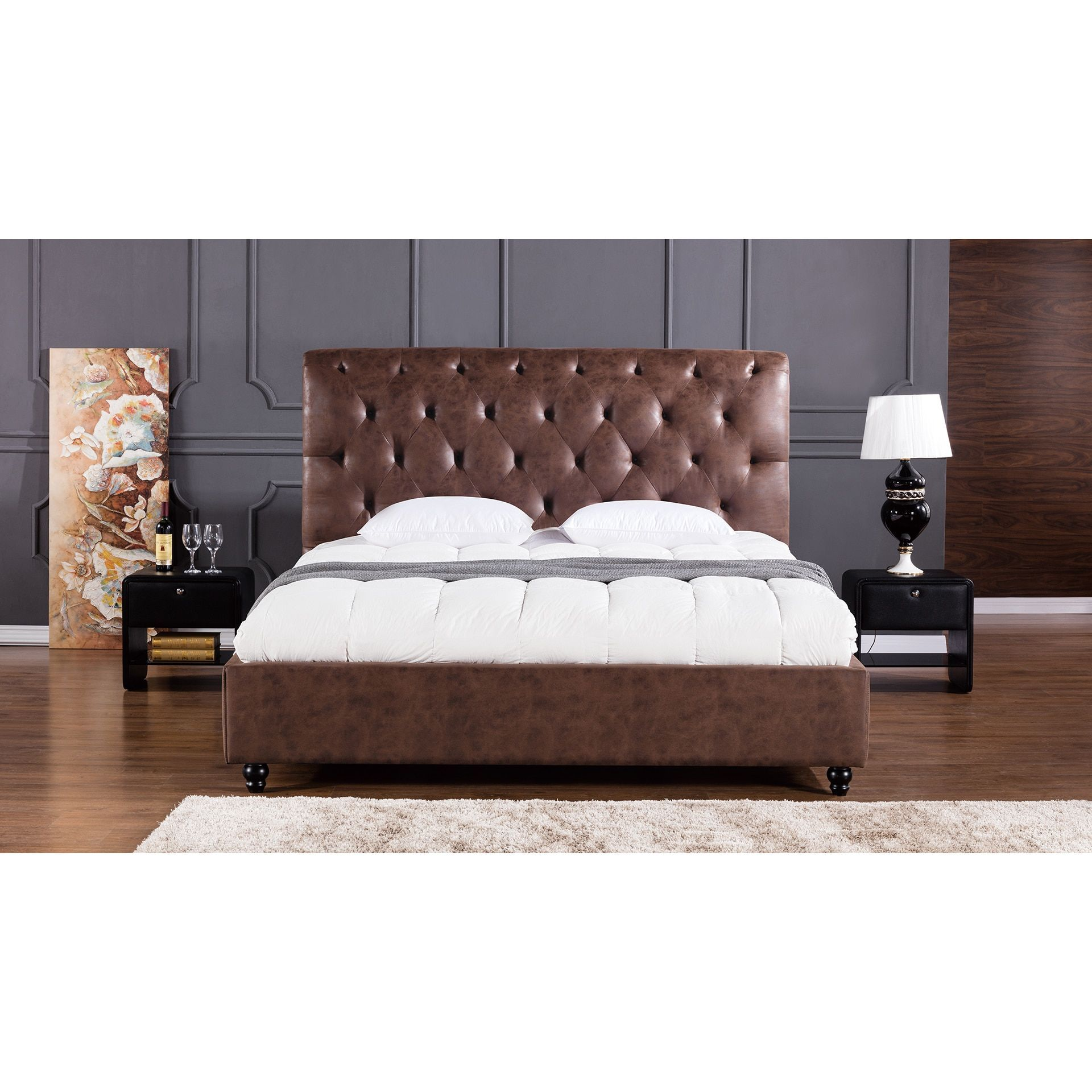 Brown Leather Air Fabric Bed (California King   California King