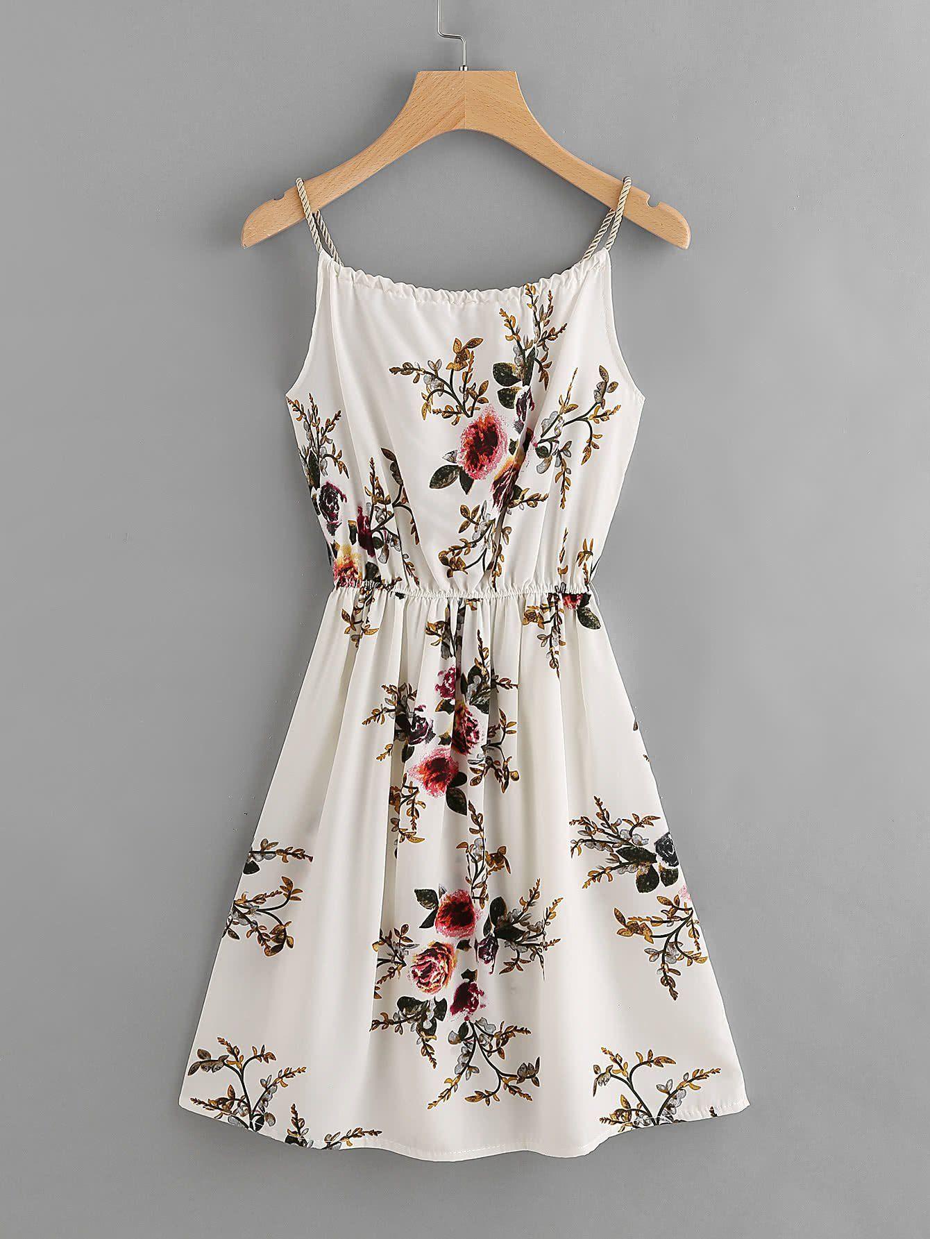 67d29cc24ec Floral Print Random Self Tie Cami Dress – bellenovo