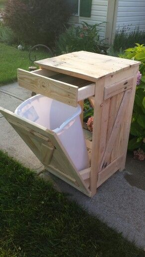 Tip Out Trash Can With Drawer Follow Kraigsdiycreations