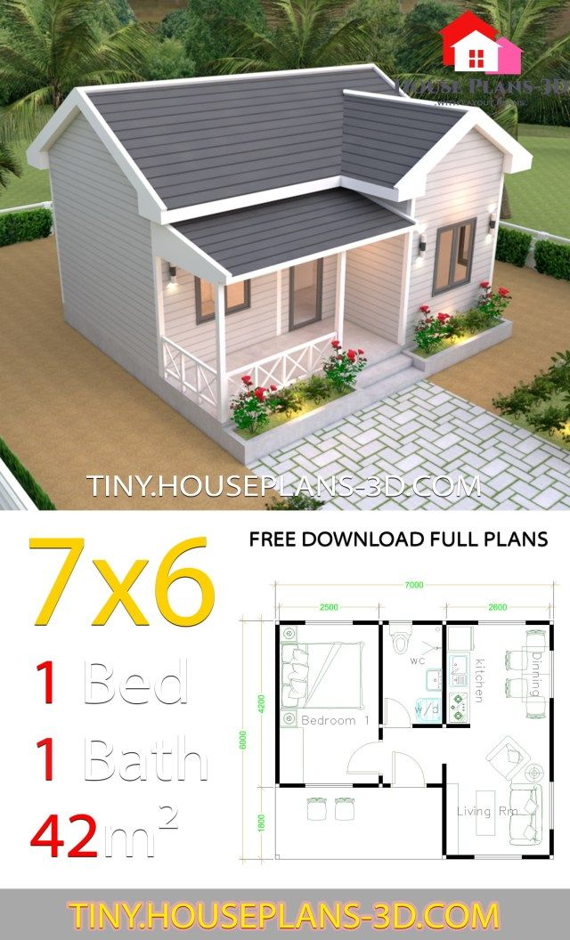 Tiny House Plans 7x6 With One Bedroom Cross Gable Roof Tiny House Plans Tiny House Plans Small House Layout Tiny House Floor Plans