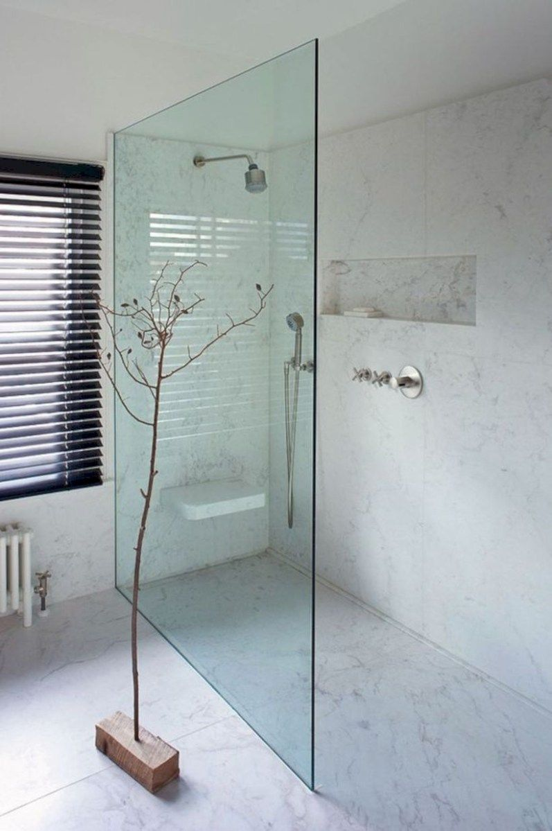 Nice and minimalist bathroom with the glass wall with a concrete 27 ...