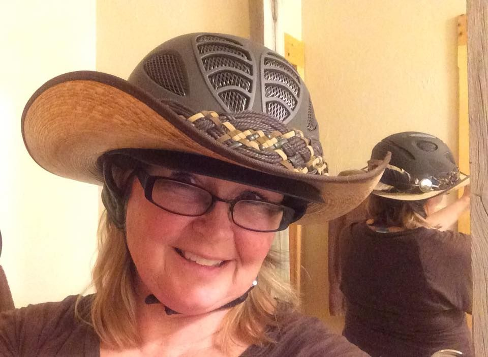 My Hellhat I Choose To Wear A Helmet And Needed Sun Protection This Is A T2 Tipperary Helmet And A Brim From A Gus S Cowboy Hats Riding Hats Riding Outfit