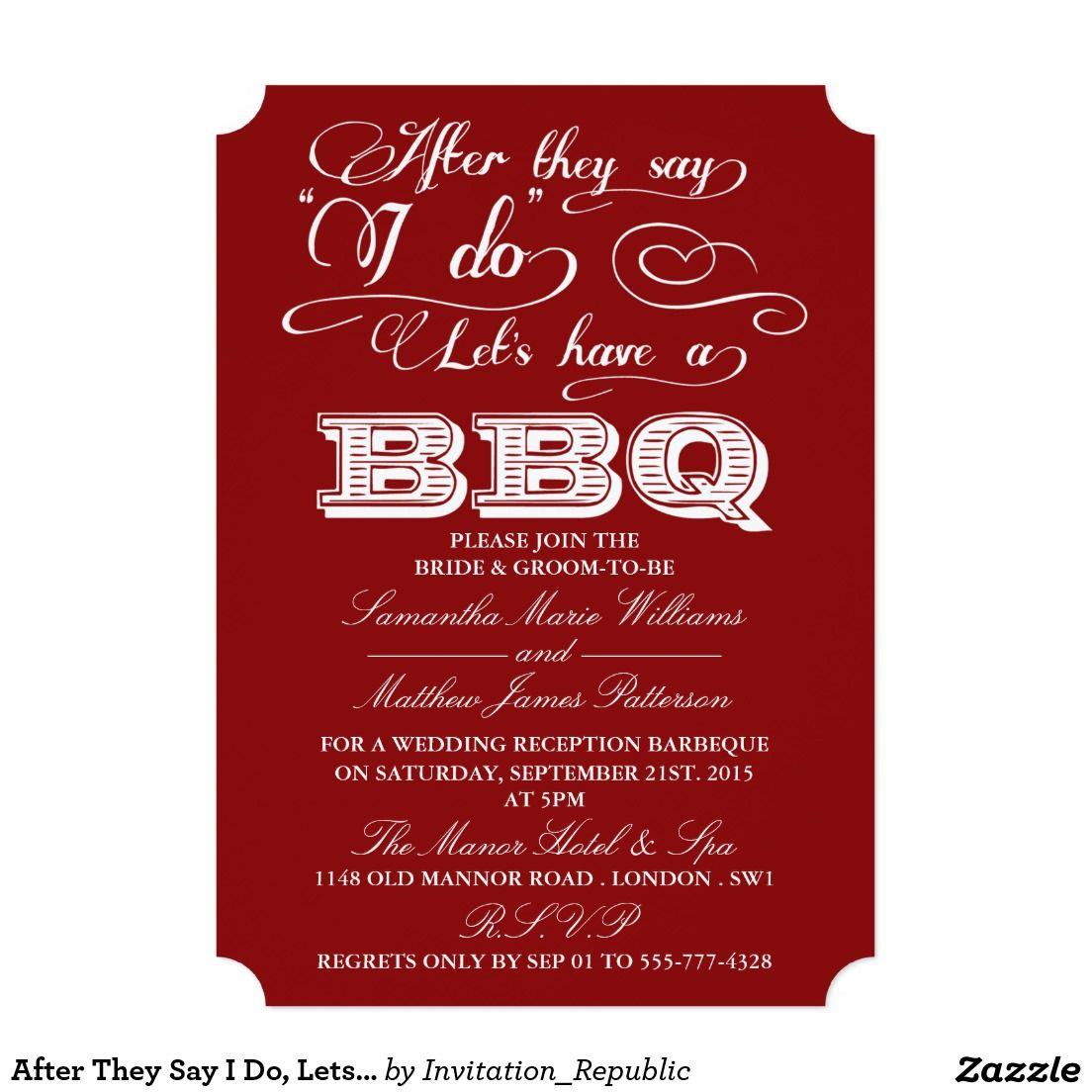 After They Say I Do, Lets Have A BBQ! - Red Invitation | Pinterest ...